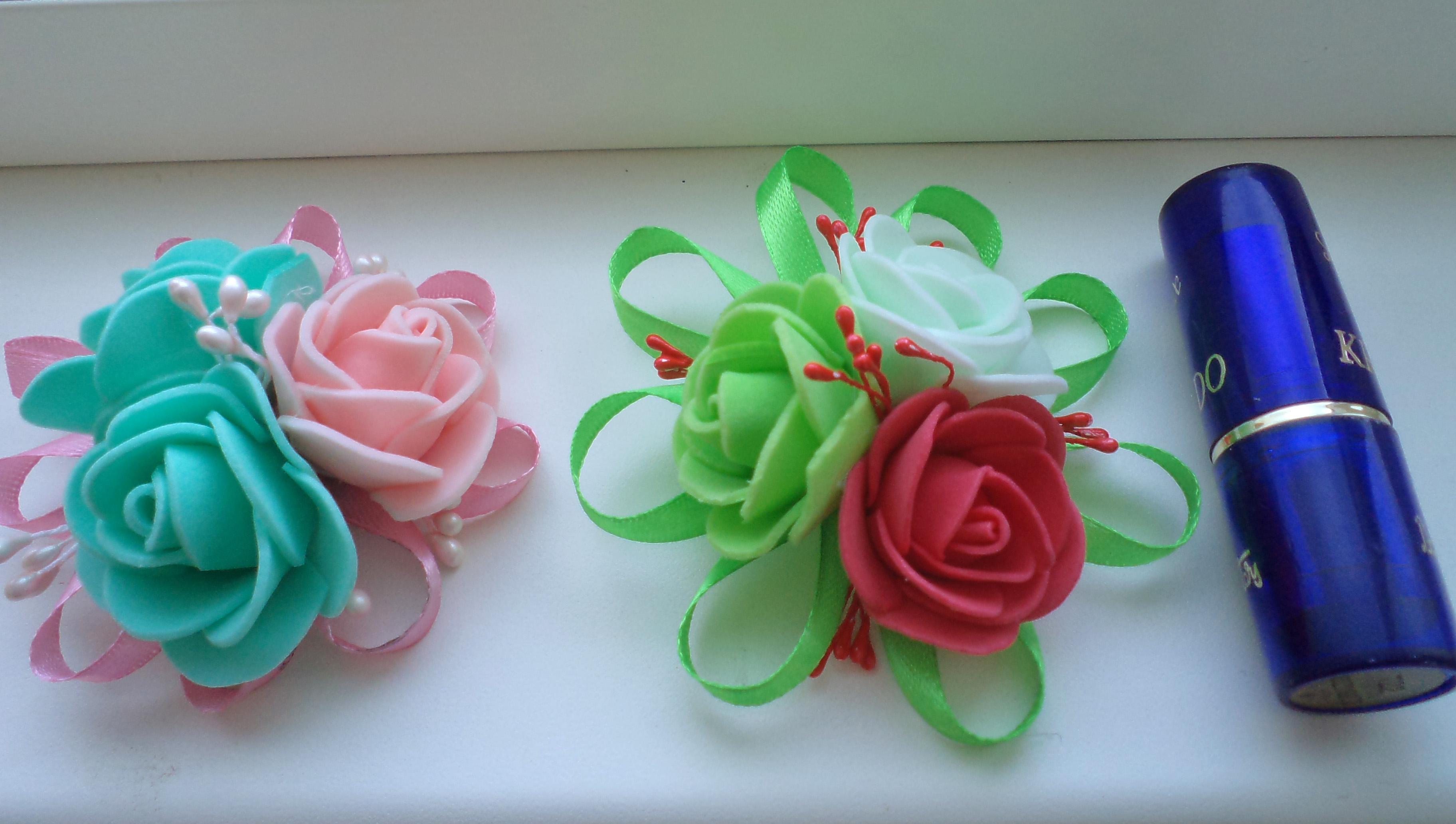 Цветы из фоамирана для заколки своими руками 22